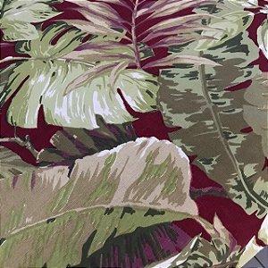 Linho Estampado - Flora Vinho