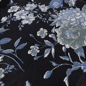 Linho Estampado - Floral Azul Marinho