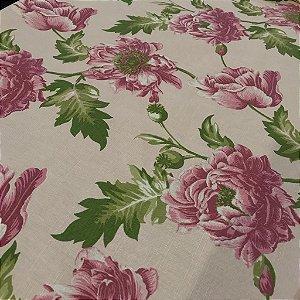 Linho Estampado - Floral Papola Rosa
