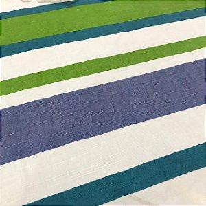 Linho Estampado - Listrado Azul Turquesa