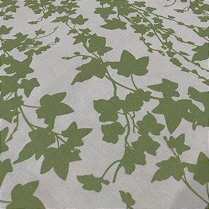 Linho Estampado - Flozinhas Verde