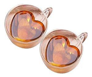 Conjunto 2 Xícaras Para Chá Heart Dupla Parede de Vidro Resistente a Calor Lyor - 230ml