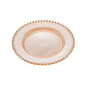 Prato Raso de Cristal Coração Âmbar Lyor - 28cm