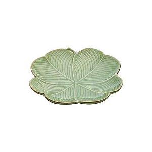 Prato de Cerâmica Banana Leaf Verde Lyor - 20x20x3cm