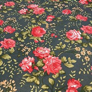 Tecido Pure Linem Estampado Floral - Fiama