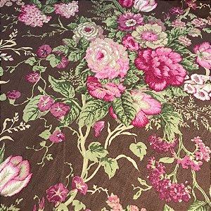 Tecido Pure Linem / Estampado / Floral / Rosa - Fiama