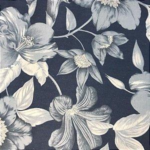 Tecido Pure Linem Estampado / Floral / Azul- Fiama