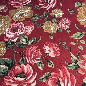 Tecido Pure Linem Estampado Floral  Vermelho - Fiama