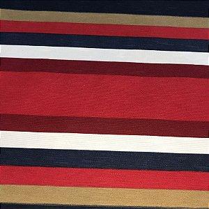 Tecido Panamá Listrado Azul Vermelho  - Fiama