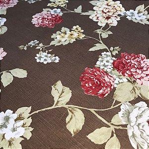 Tecido Panamá Estampado Floral Marrom - Fiama