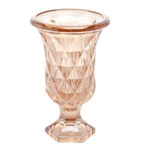 Vaso C/Pé De Vidro Diamond Âmbar Metalizado Lyor 15x24cm