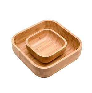 Kit De 2 Bowls De Bambu Quadrados 23cm e 14cm - Oikos