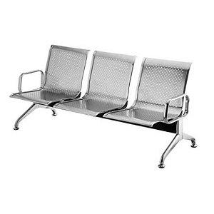Cadeira Longarina Inox 3 Lugares Com Braços Externos - Rivatti