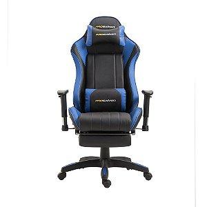 """Cadeira Office Pro Gamer """"X"""" Preto E Azul - Rivatti"""