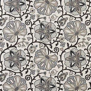 Tecido Estampado Verona - Floral Preto 19024