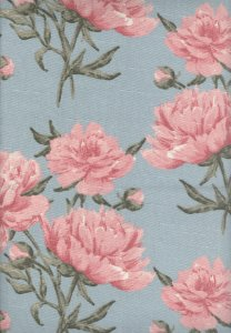 Linho Florata - Cor Floral Azul/Rosa