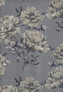 Linho Florata - Cor Floral Cinza