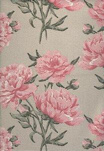 Linho Florata - Cor Floral Bege/Rosa
