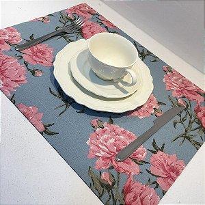 Sousplat Linho Florata Azul/Rosa