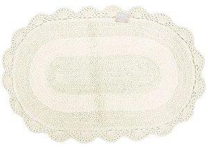 Tapete Oval de Croche 60X90 - Cru - Kacyumara