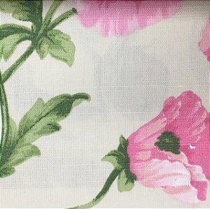 Linho Estampado - Floral Rosa Verde
