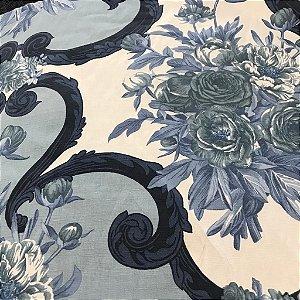 Linho Estampado - Medalhao Floral Azul