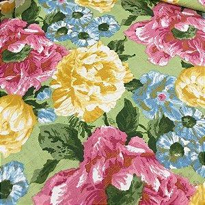 Linho Estampado - Floral Verde Pistacho