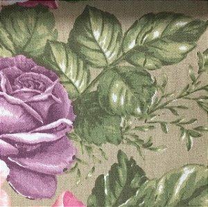 Linho Estampado - Floral Rosa Com Fundo Bege
