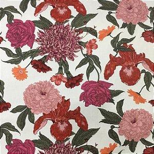 Linho Florata - 003 Floral Vermelho 092745