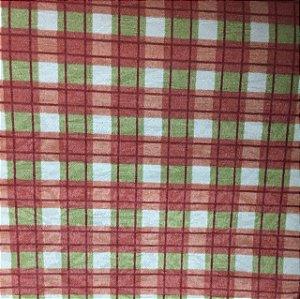 Tecido Estampado Verona - Zadrez Vermelho Cotton