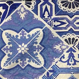 Tecido Estampado Parise - Azulejos Azul