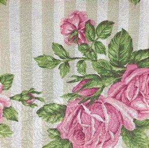 Tecido Estampado Parise - Listrado Floral Rosa