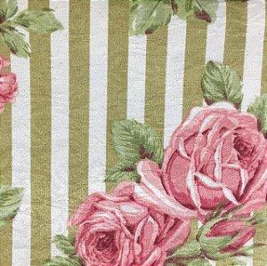 Tecido Estampado Parise - Floral Listrado Rosa