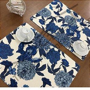 Sousplat Linho Florata - Floral Azul