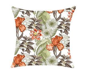 Almofada com Enchimento 50X50 - Garden Trancoso Floral Laranja