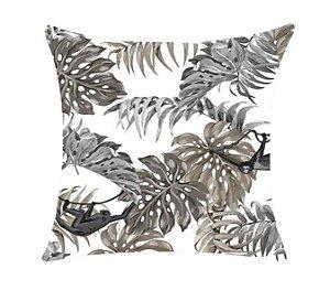 Almofada com Enchimento 50X50 - Garden Trancoso Floral Fauna Preto