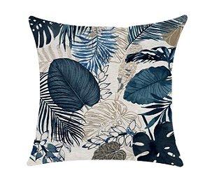 Almofada com Enchimento - Garden Linho 50X50 - Floral Azul