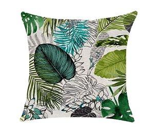 Almofada com Enchimento - Garden Linho 50X50 - Floral Verde