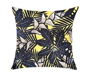 Almofada com Enchimento Soleil Digital 50X50 - Floral Amarelo / Preto