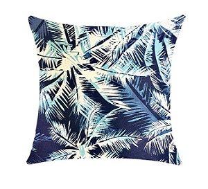 Almofada com Enchimento Soleil Digital 50X50 - Folhagem Azul