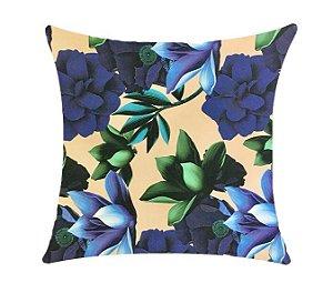 Almofada com Enchimento Soleil Digital 50X50 - Floral Azul / Bege