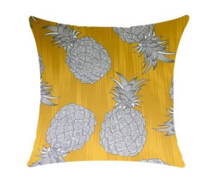 Almofada com Enchimento Soleil Digital 50X50 - Abacaxi Fundo Amarelo