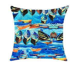Almofada com Enchimento Soleil Digital 50X50 - Barcos Azul