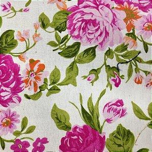 Linho Floral Romance Rosa