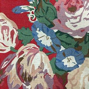 Linho 000253 Floral Vermelho Cor 33