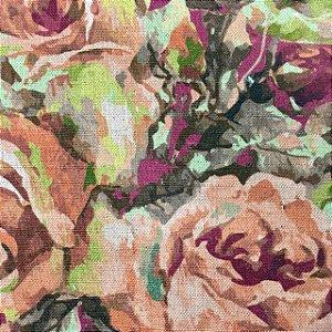 Linho 302016 Floral Laranja Digital - Cor 015