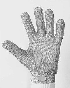 Luva malha aço 5 dedos punho curto