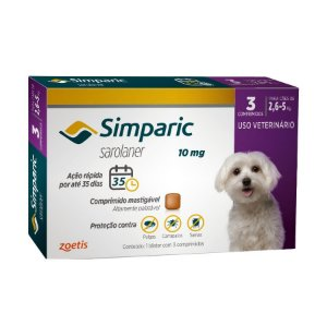 Antipulgas E Carrapatos Simparic 10 Mg 2,6 A 5Kg - 3 Comprimidos
