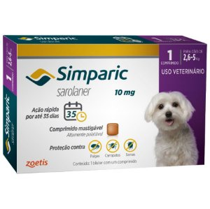 Antipulgas E Carrapatos Simparic 10 Mg 2,6 A 5Kg - 1 Comprimido