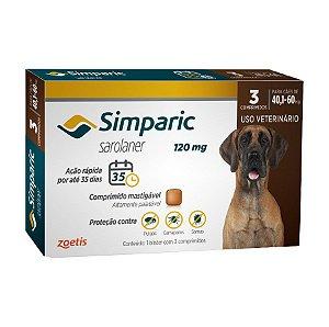 Antipulgas E Carrapatos Simparic 120Mg 40,1 A 60Kg - 3 Comprimidos